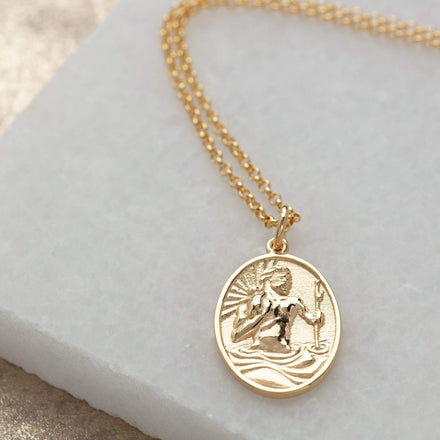 Engraved Gold Plated St Christopher Necklace - Lily Charmed