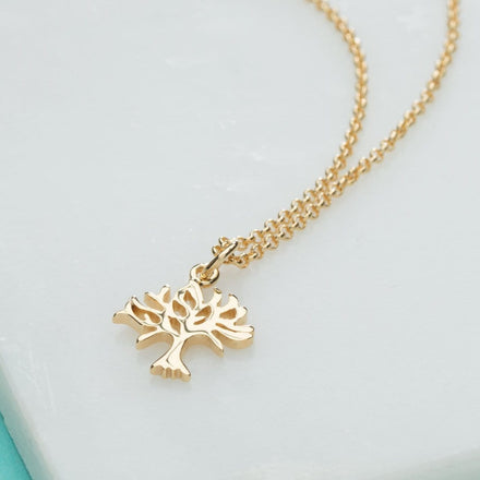 Personalised Gold Plated Tree Necklace - Lily Charmed