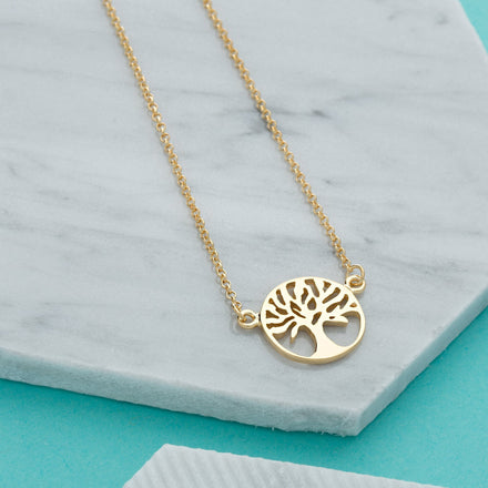 Personalised Gold Plated Tree of Life Necklace - Lily Charmed