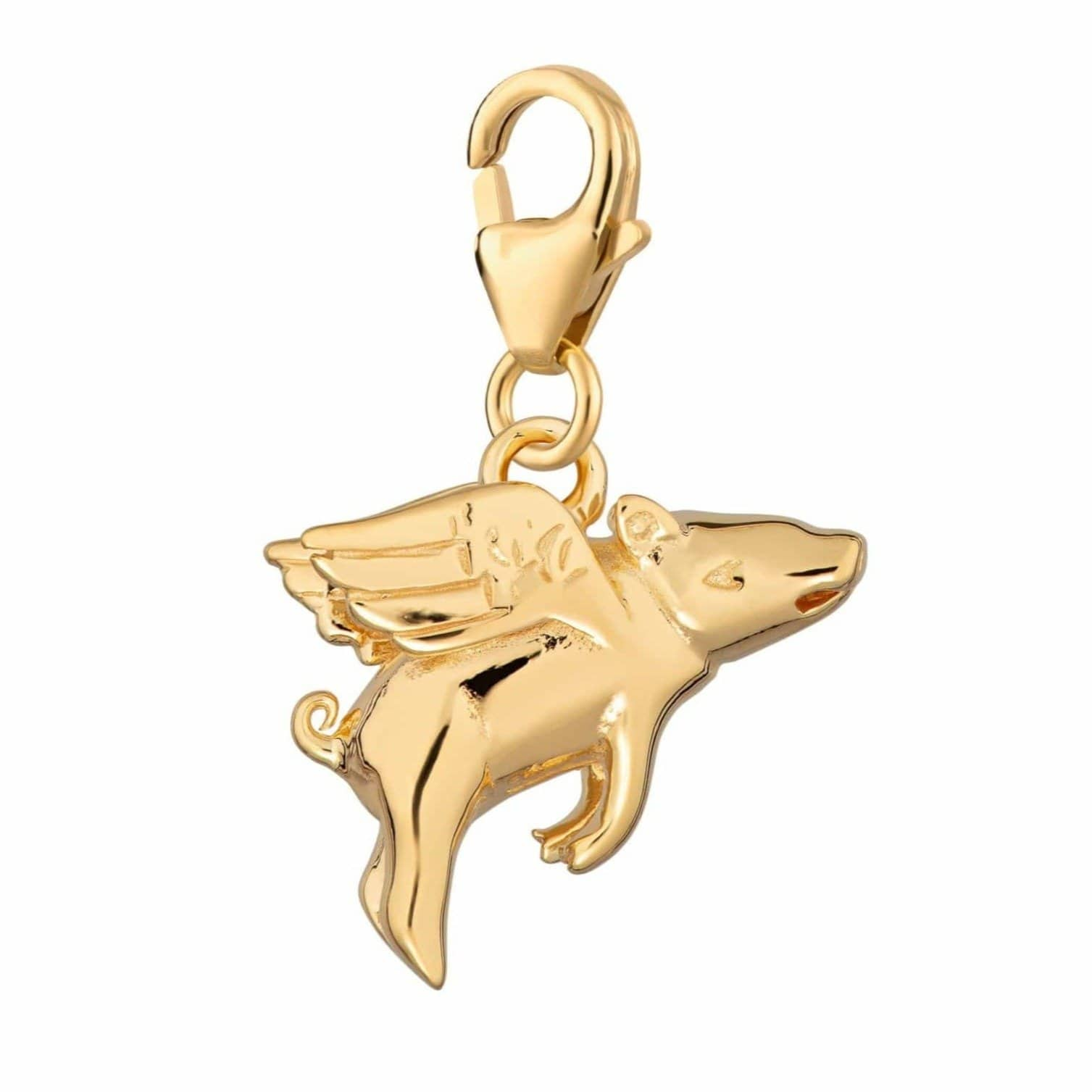 Gold Plated Flying Pig Charm - Lily Charmed