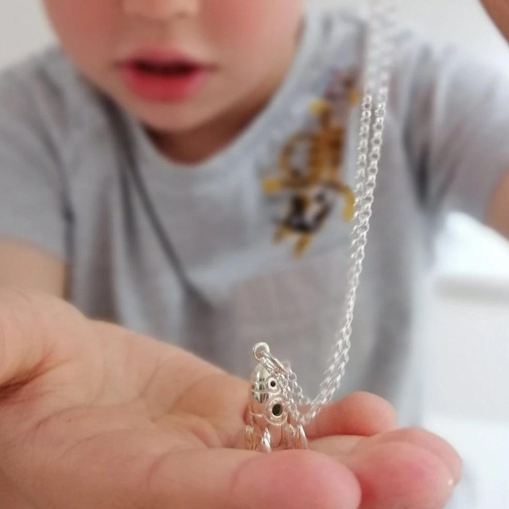 Children's Personalised Silver Rocket Necklace - Lily Charmed