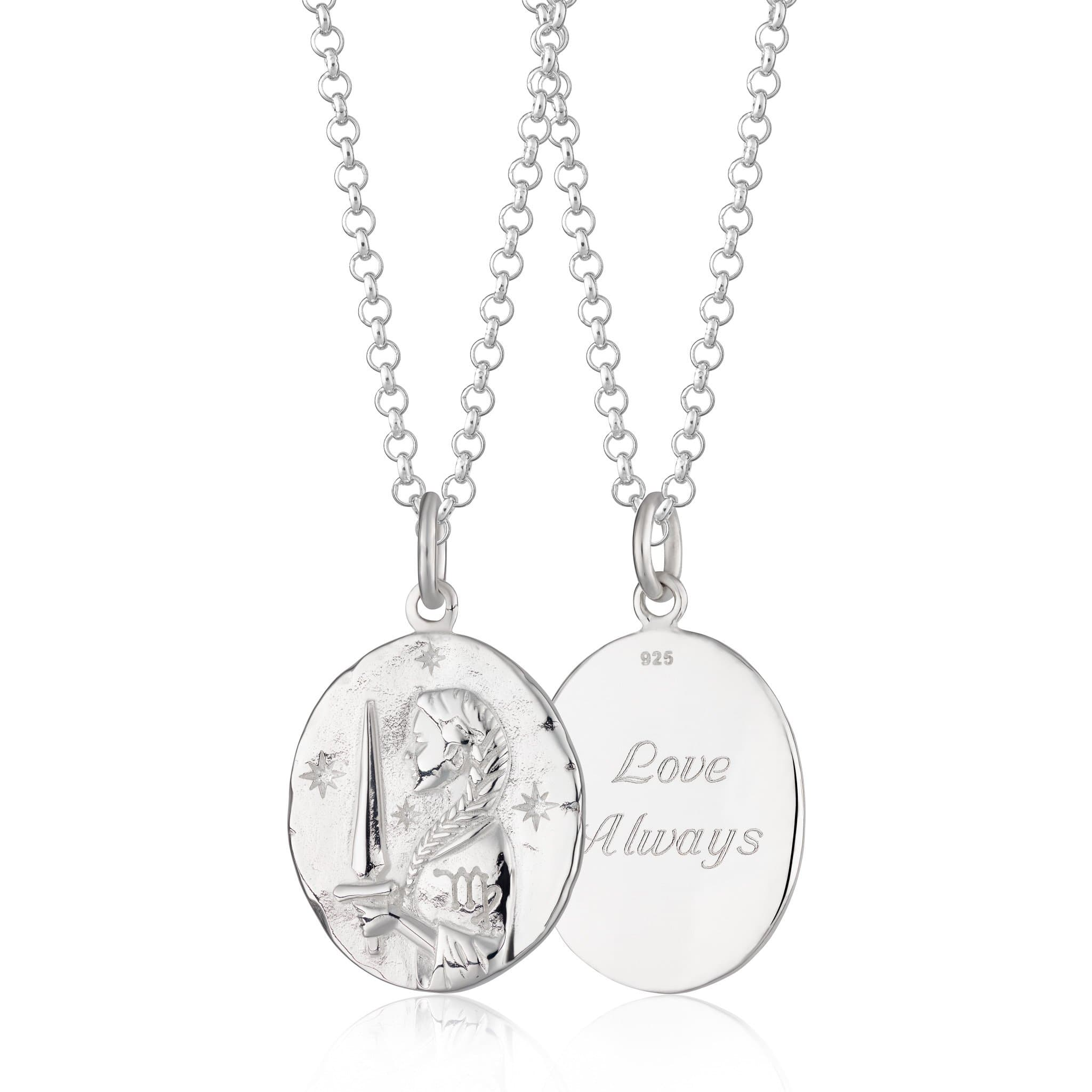 Engraved Silver Virgo Zodiac Necklace - Lily Charmed