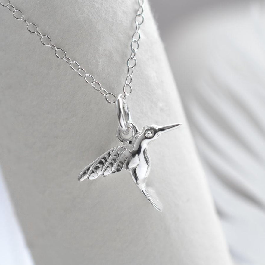 Personalised Silver and Diamond Hummingbird Necklace