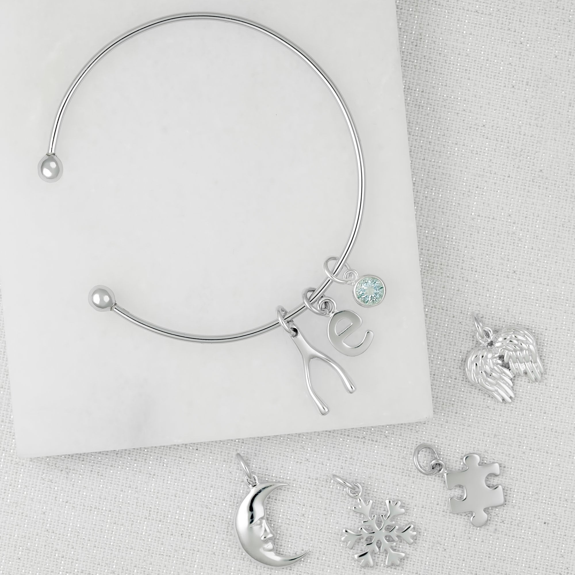 Silver Charm Bangle with Bead Fastening - Lily Charmed