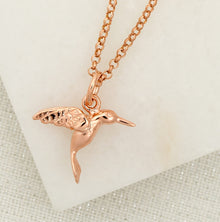 Personalised Rose Gold Plated Hummingbird Necklace - Lily Charmed