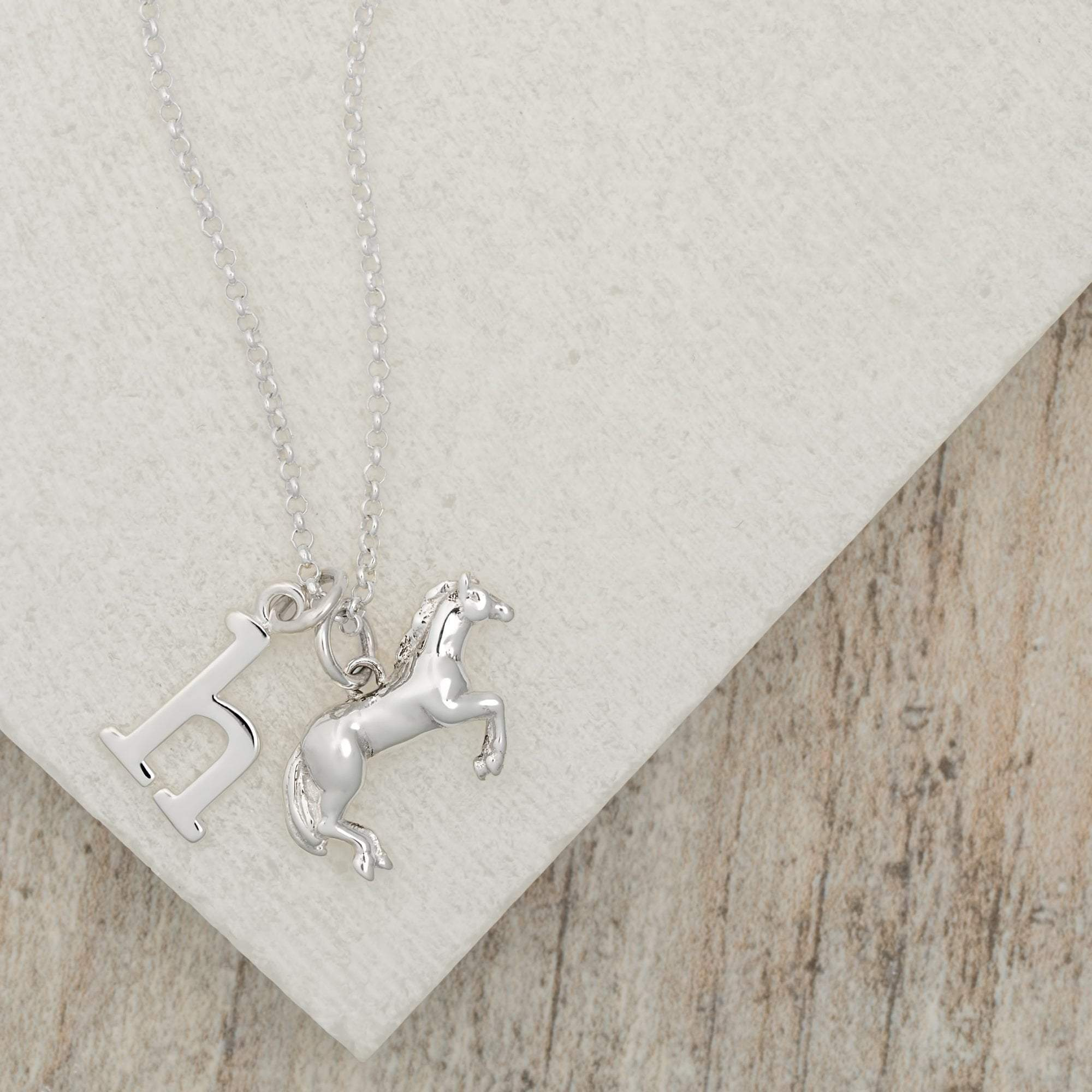 Personalised Silver Horse Necklace - Lily Charmed