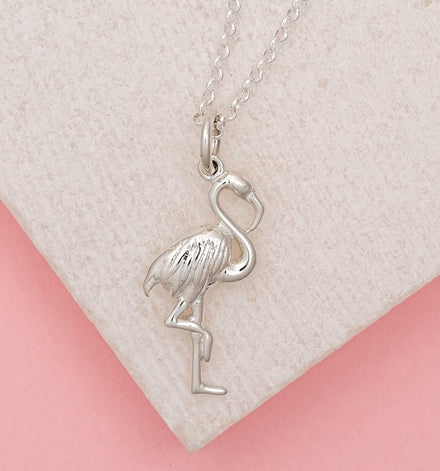 Personalised Silver Flamingo Necklace - Lily Charmed