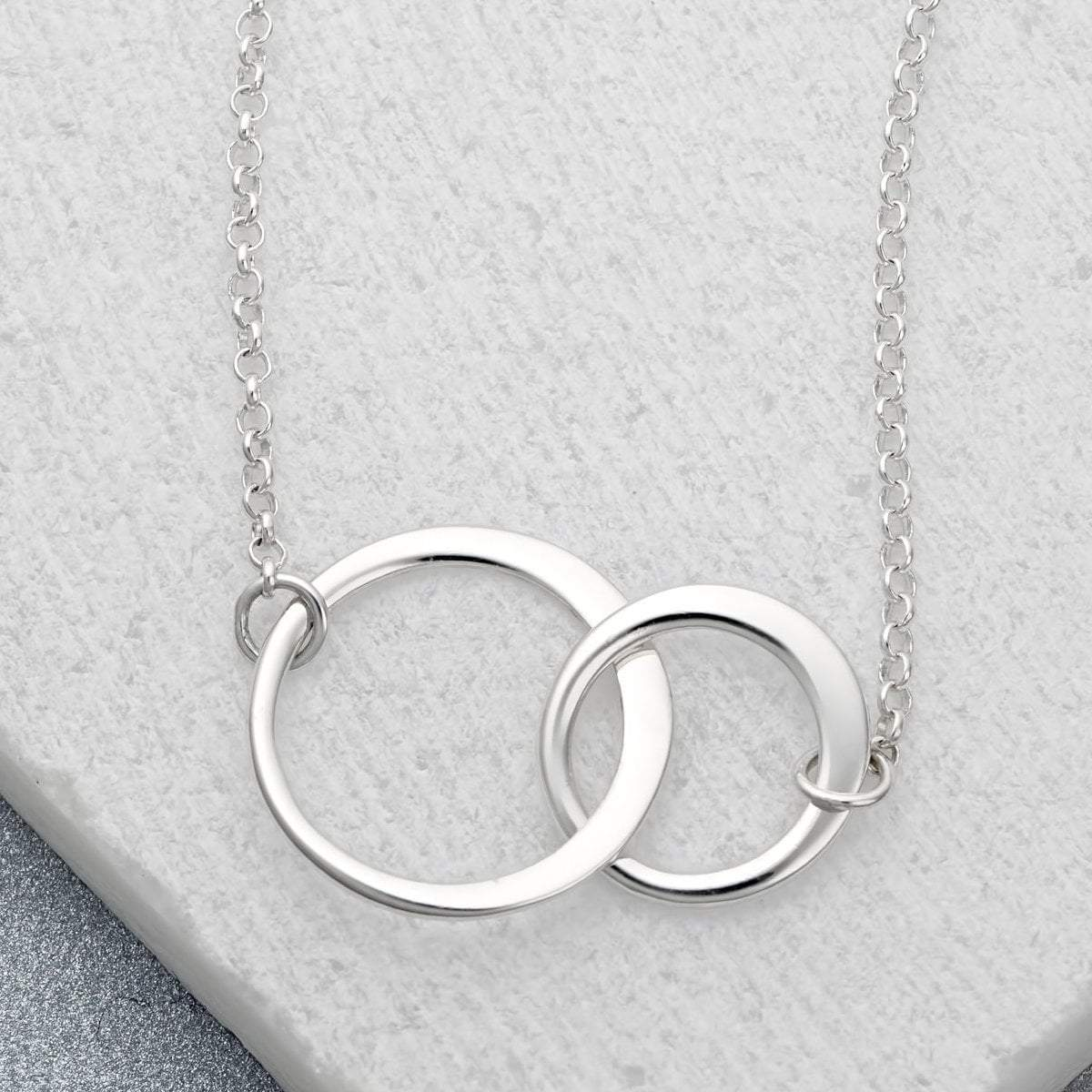 Personalised Silver Linked Circles Necklace - Lily Charmed