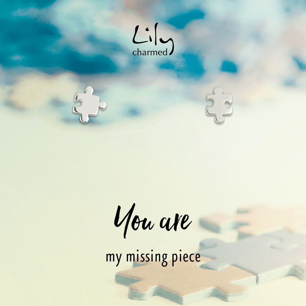 Silver Jigsaw Stud Earrings with 'Missing Piece' Message - Lily Charmed