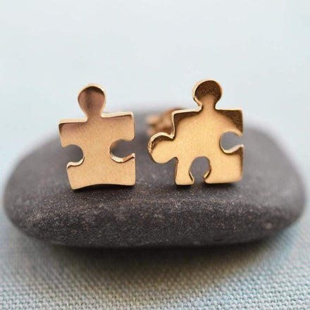 Gold Plated Jigsaw Stud Earrings - Lily Charmed