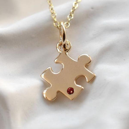 Personalised 9 Carat Gold and Ruby Jigsaw Necklace - Lily Charmed