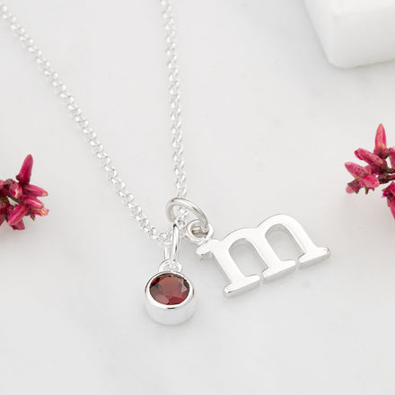 Personalised January Birthstone Necklace (Garnet) - Lily Charmed