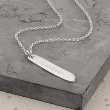 Engraved Silver Bar Necklace (Medium) - Lily Charmed