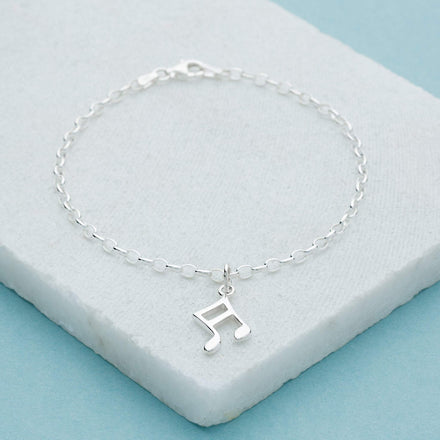 Personalised Silver Music Note Charm Bracelet - Lily Charmed