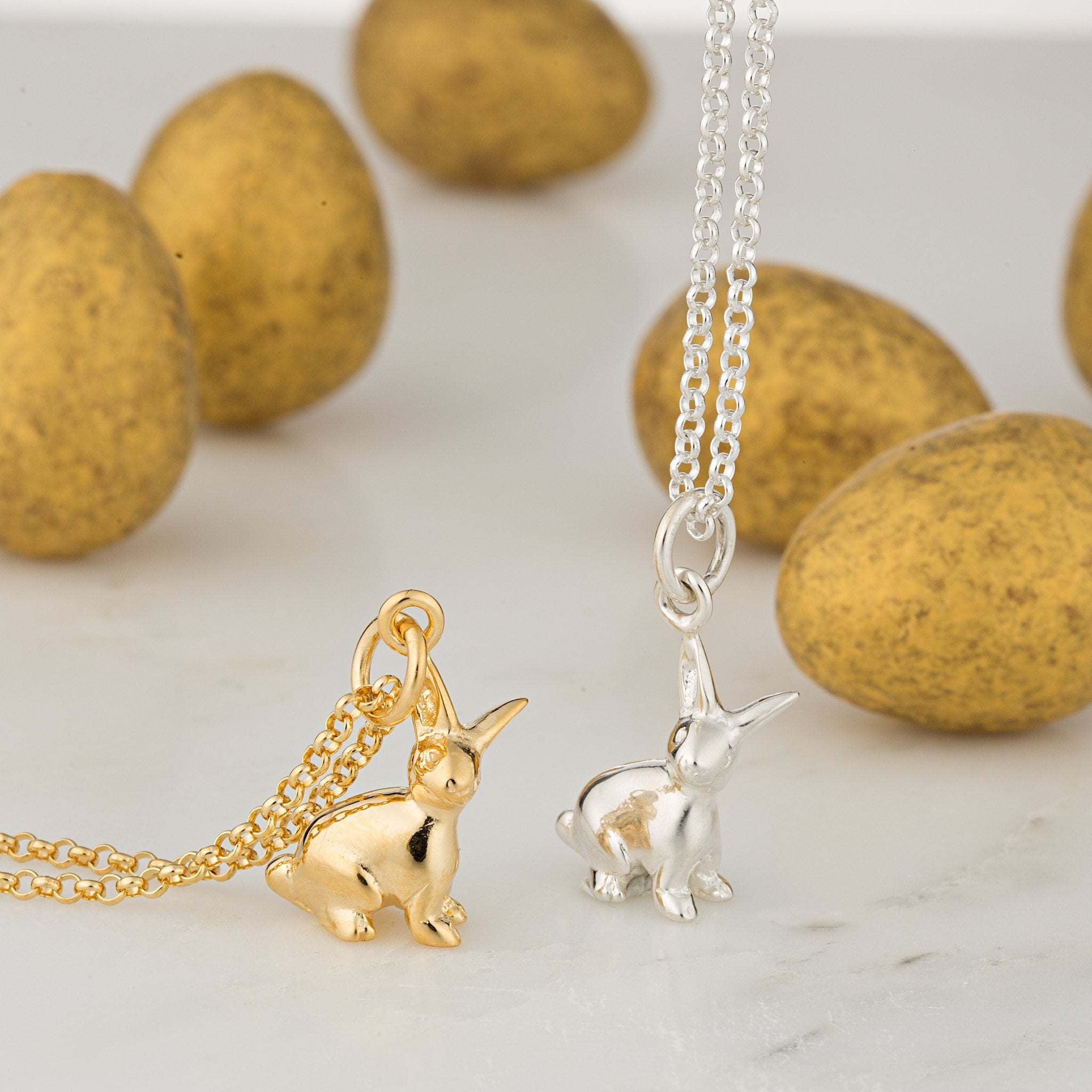 Personalised Gold Plated Bunny Necklace - Lily Charmed