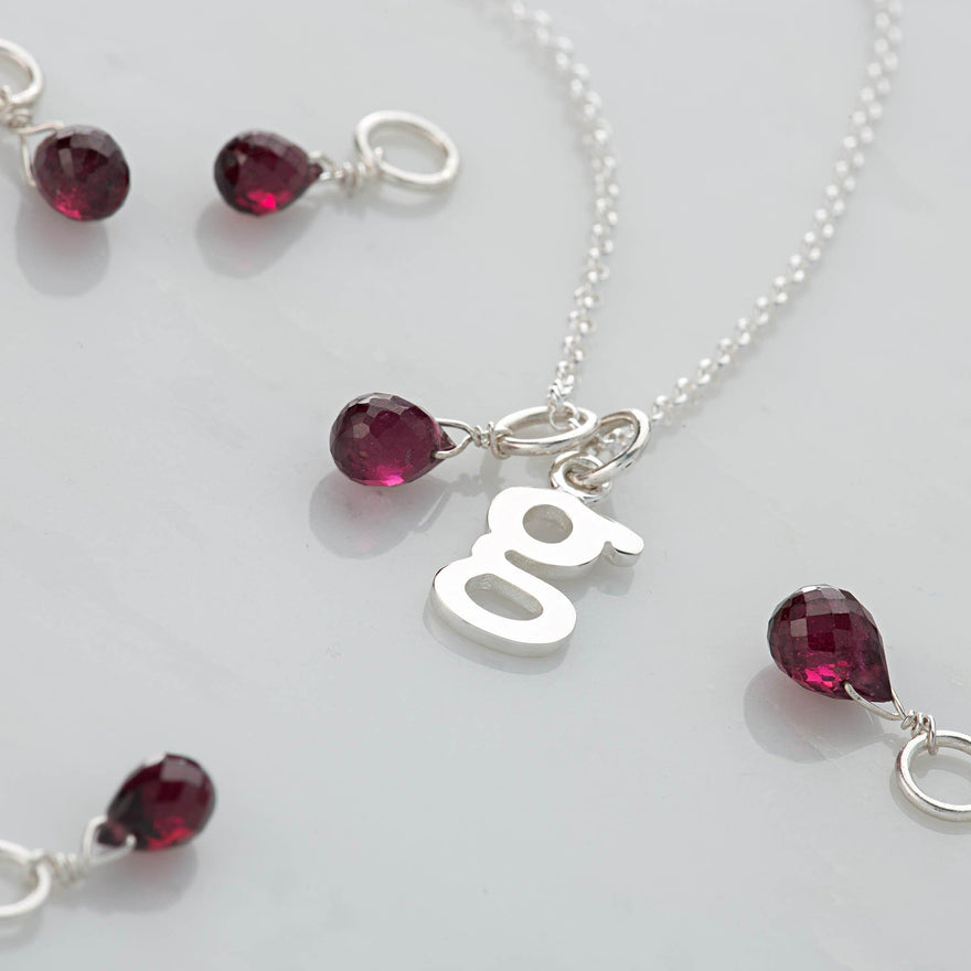Personalised January Birthstone Teardrop Necklace (Garnet) with Letter Charm - Lily Charmed