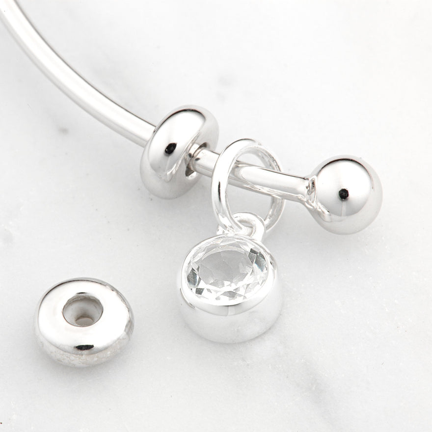Silver Charm Bangle with Bead Fastening and Silicon Stoppers