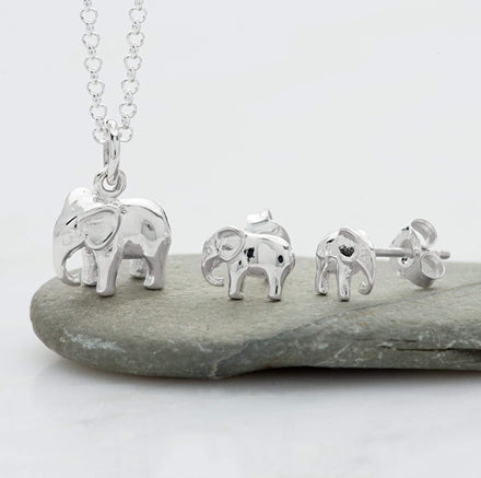Silver Elephant Jewellery Set With Stud Earrings