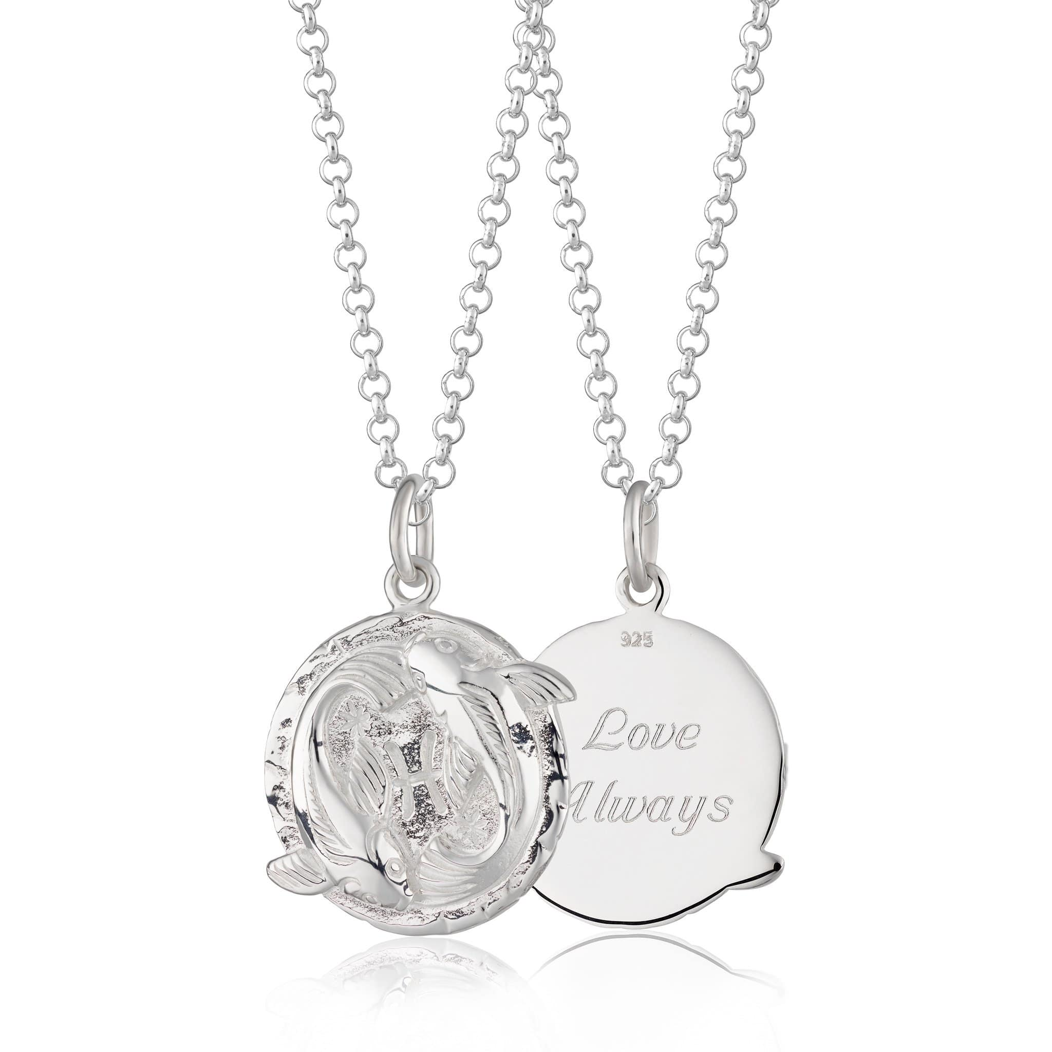 Engraved Silver Pisces Zodiac Necklace - Lily Charmed