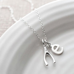 Personalised Silver and Diamond Wishbone Necklace - Lily Charmed