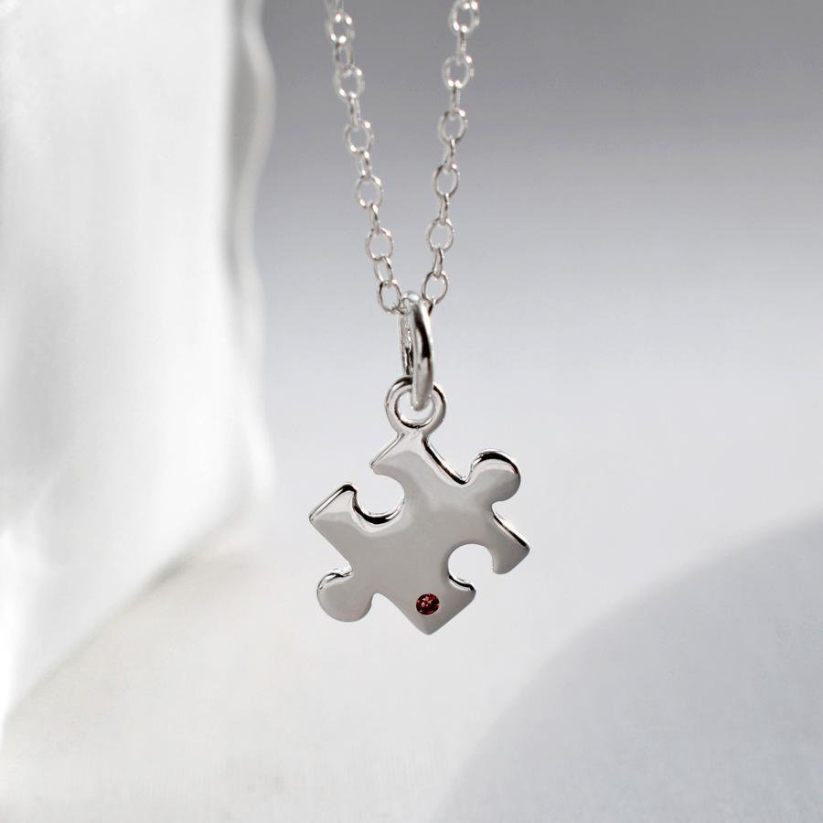 Personalised Silver and Ruby Jigsaw Necklace - Lily Charmed