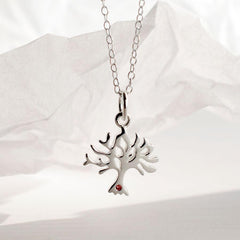 Personalised Silver and Ruby Tree Necklace - Lily Charmed