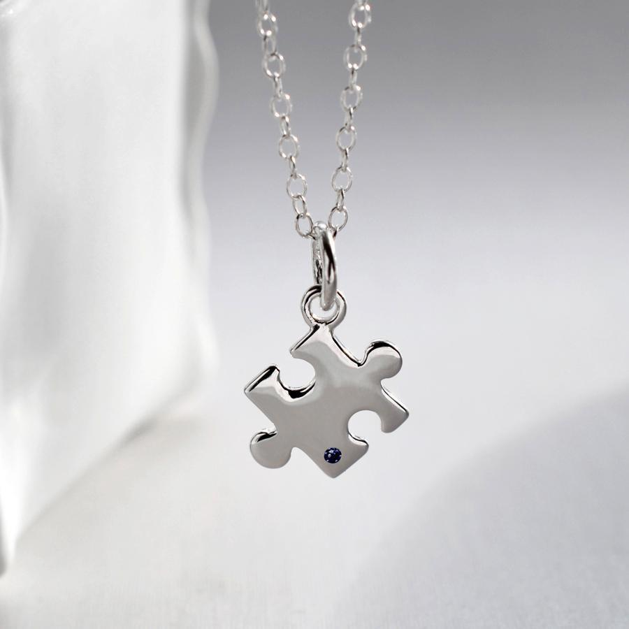 Personalised Silver and Sapphire Jigsaw Necklace - Lily Charmed