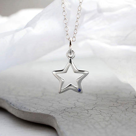 Personalised Silver and Sapphire Open Star Necklace - Lily Charmed