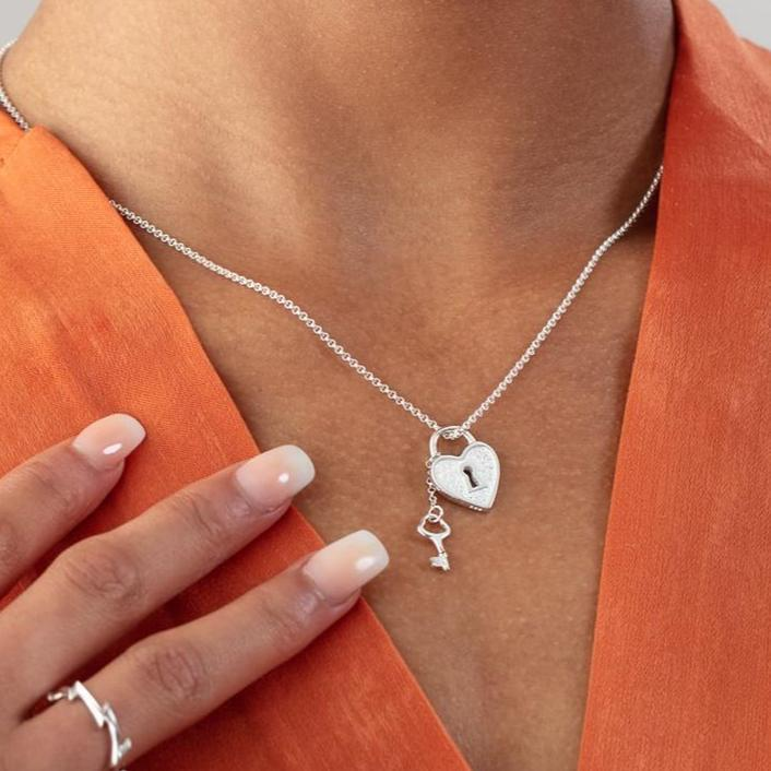 Personalised Silver Heart Shaped Padlock and Key Necklace - Lily Charmed