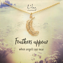 Large Gold Plated Feather Necklace with Feathers Appear' Message - Lily Charmed