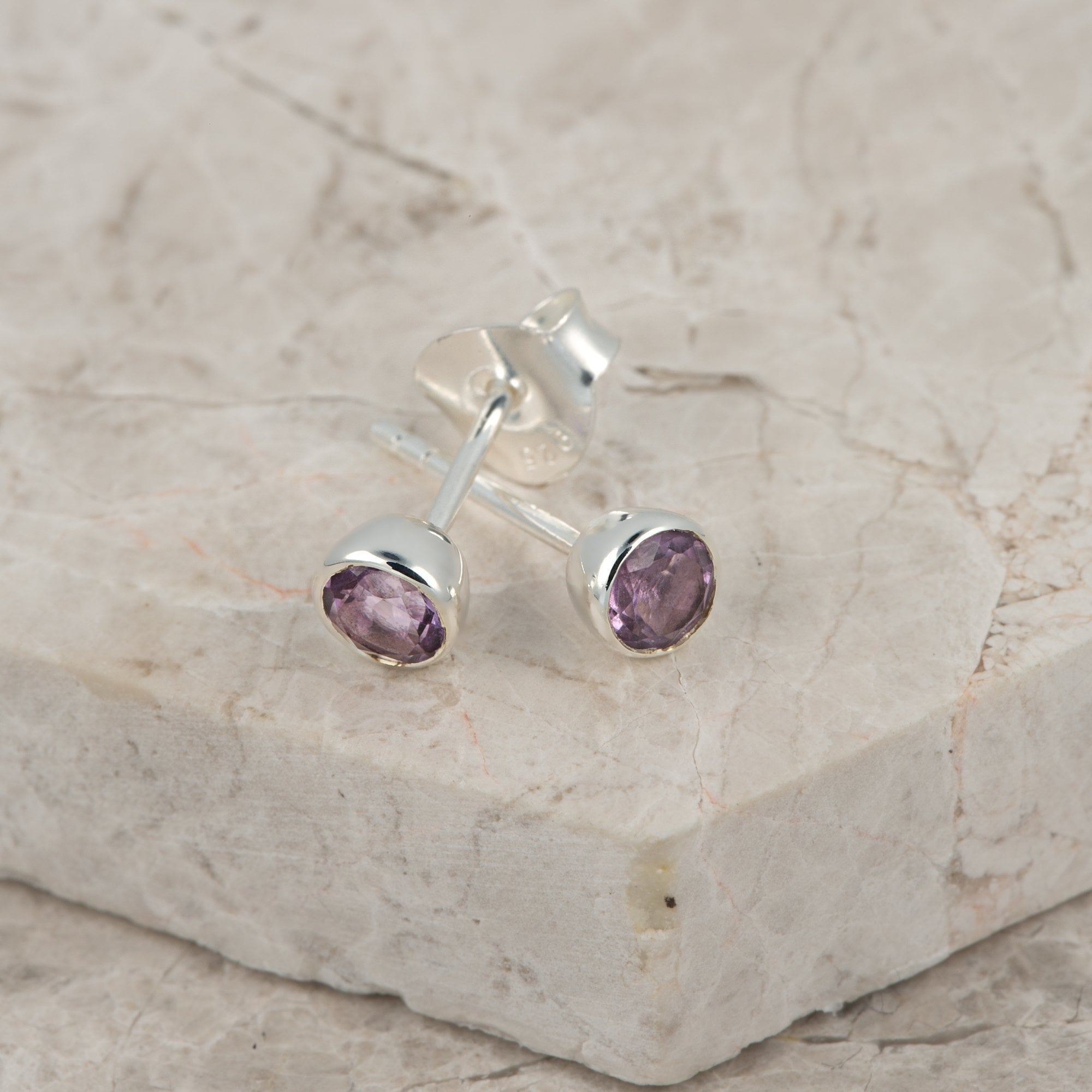 February Birthstone Earrings (Amethyst) - Lily Charmed
