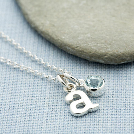 Personalised March Birthstone Necklace (Aquamarine) - Lily Charmed