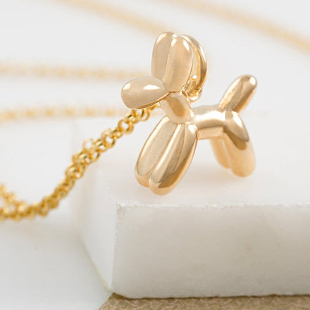 Personalised Gold Plated Balloon Dog Necklace - Lily Charmed