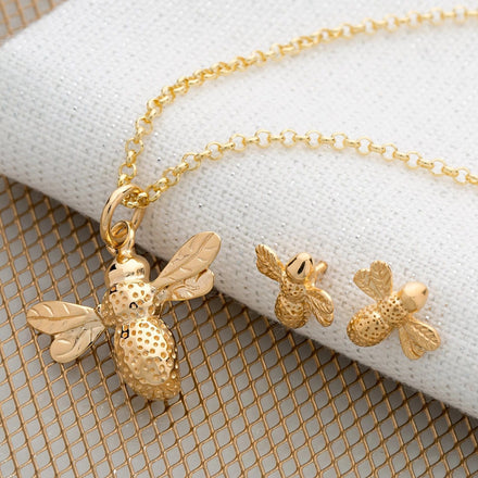 Gold Plated Bee Jewellery Set With Stud Earrings - Lily Charmed
