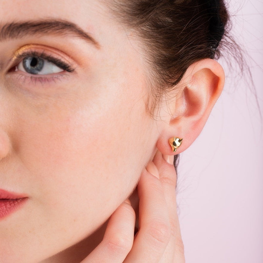 Gold Plated Fox Stud Earrings - Lily Charmed