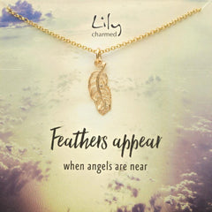 Gold Plated Feather Necklace with 'Feathers Appear' Message - Lily Charmed