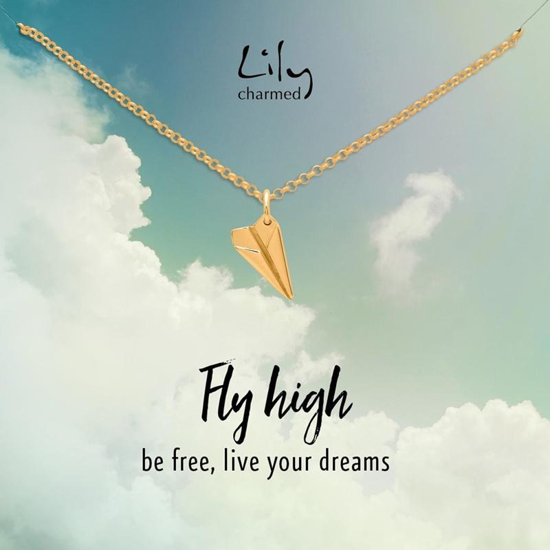 Gold Plated Paper Plane Necklace with 'Fly High' Message - Lily Charmed