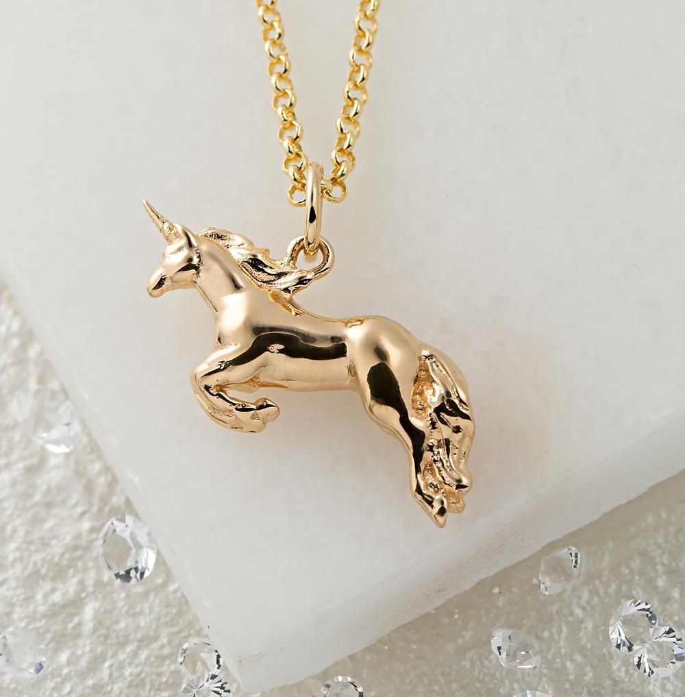 Personalised Gold Plated Unicorn Necklace - Lily Charmed