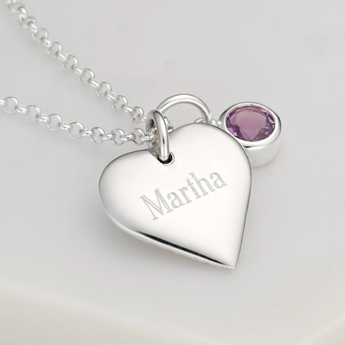 Engraved Heart & Birthstone Necklace - Lily Charmed