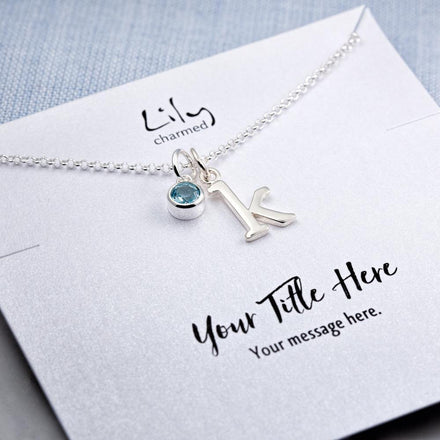 Personalised Silver and Sapphire Hummingbird Necklace - Lily Charmed