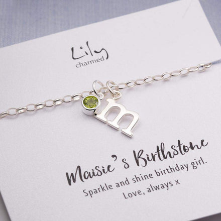 Children's Personalised Birthstone Charm Bracelet - Lily Charmed