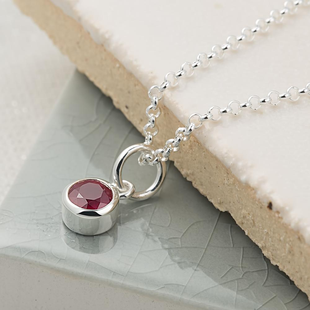 Personalised July Birthstone Necklace (Ruby) - Lily Charmed