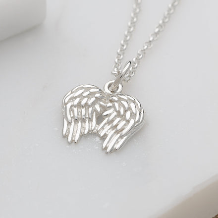 Personalised Silver Angel Wings Necklace - Lily Charmed