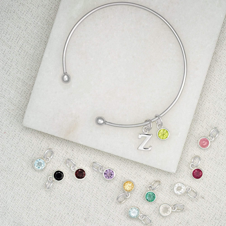 Silver Charm Bangle with Birthstone