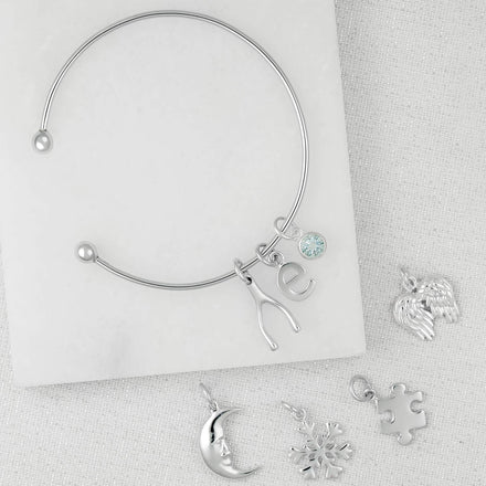 Silver Charm Bangle with Birthstone - Lily Charmed