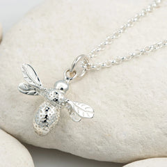 Personalised Silver Bee Necklace - Lily Charmed
