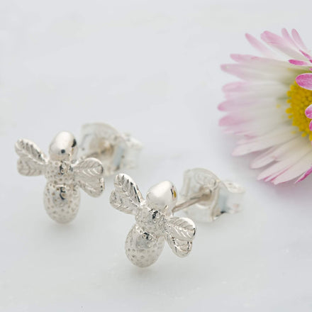 Silver Bee Stud Earrings - Lily Charmed