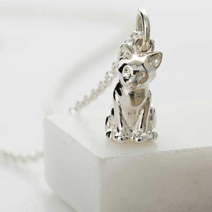Personalised Silver Cat Necklace - Lily Charmed