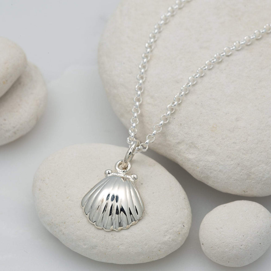Personalised Silver Clam Shell Necklace - Lily Charmed