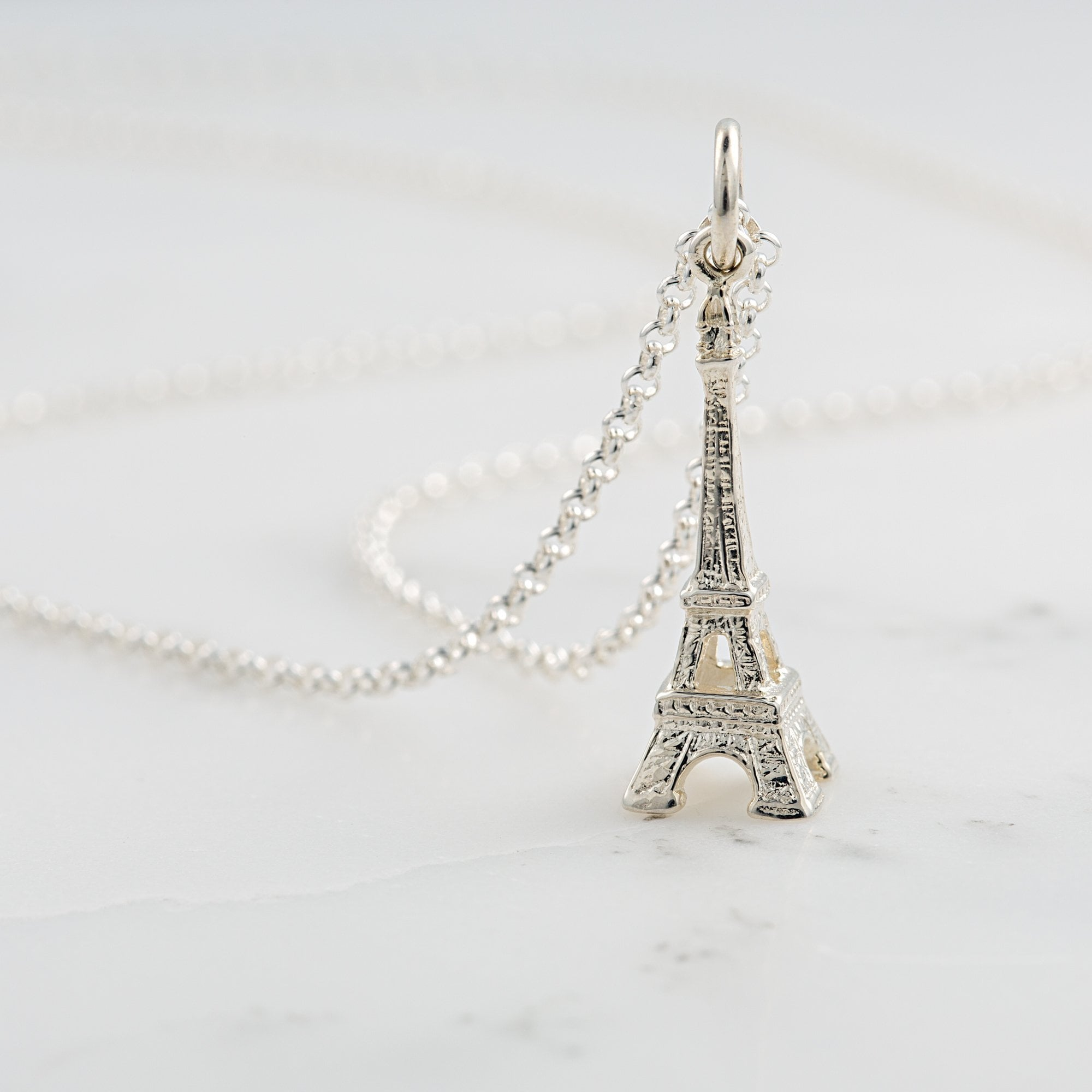 Personalised Silver Eiffel Tower Necklace - Lily Charmed
